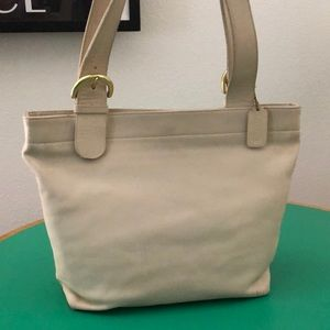 Coach Large Beige Leather Shoulder Handbag
